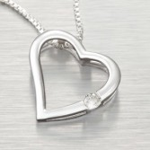 05 ct Diamond Floating Heart  Sterling Silver Pendant