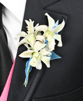 BLUE HEAVEN Prom Boutonniere in Louisburg, KS | ANN'S FLORAL, ETC.