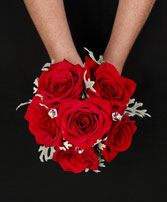 ROMANTIC RED ROSE Handheld Bouquet in Bath, NY | VAN SCOTER FLORISTS