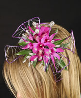 PURPLE PARADISE Prom Hairpiece in Worcester, MA | GEORGE'S FLOWER SHOP