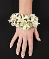 WHITE WRISTLET Prom Corsage in Michigan City, IN | WRIGHT'S FLOWERS AND GIFTS INC.