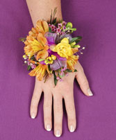 SPRINGTIME SUNSET Prom Corsage in Red Deer, AB | SOMETHING COUNTRY FLOWERS & GIFTS