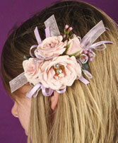 BLUSH PINK Prom Hairpiece in Deer Park, TX | BLOOMING CREATIONS FLOWERS & GIFTS