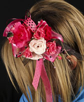 HOT PINK & BLACK Prom Hairpiece in New York, NY | TOWN & COUNTRY FLORIST/ 1HOURFLOWERS.COM