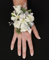 SPARKLY WHITE Prom Corsage in Council Bluffs, IA | ABUNDANCE A' BLOSSOMS FLORIST