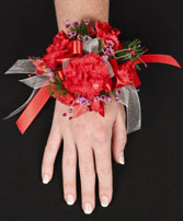 CRIMSON CARNATION Prom Corsage in Brimfield, MA | GREEN THUMB FLORIST & GARDENS