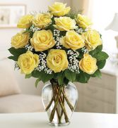 12 LONG STEM PREMIUM YELLOW ROSES VALENTINES in Miami, FL | THE VILLAGE FLORIST