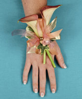 ELEGANT APRICOT CALLA Prom Corsage in Michigan City, IN | WRIGHT'S FLOWERS AND GIFTS INC.