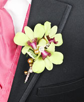 GLAMOROUS GREEN Prom Boutonniere in Manchester, NH | CRYSTAL ORCHID FLORIST