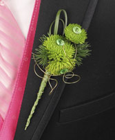 GO GREEN Prom Boutonniere in Manchester, NH | CRYSTAL ORCHID FLORIST