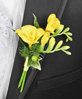 GLOWING YELLOW Prom Boutonniere in Polson, MT | DAWN'S FLOWER DESIGNS