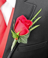 ROMANTIC RED ROSE Prom Boutonniere in South Lyon, MI | PAT'S FIELD OF FLOWERS