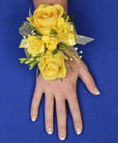 GLOWING YELLOW Prom Corsage in South Lyon, MI | PAT'S FIELD OF FLOWERS