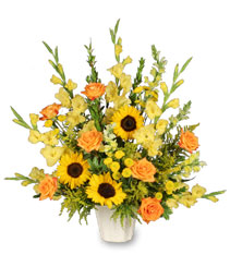 GOLDEN GOODBYE Funeral Arrangement in Redlands, CA | REDLAND'S BOUQUET FLORISTS & MORE