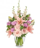 PINK PARADISE Flower Arrangement in Michigan City, IN | WRIGHT'S FLOWERS AND GIFTS INC.