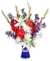 RED WHITE & TRUE BLUE Floral Arrangement in West Hills, CA | RAMBLING ROSE FLORIST