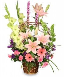 BASKET OF MEMORIES Floral Arrangement Best Seller in Wheatfield, IN | STEMS N' SUCH