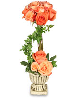 PEACH ROSE TOPIARY Arrangement in Michigan City, IN | WRIGHT'S FLOWERS AND GIFTS INC.