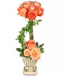 PEACH ROSE TOPIARY Arrangement in Worcester, MA | GEORGE'S FLOWER SHOP