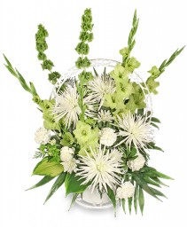 EVERLASTING FAITH Funeral Basket in Huntington, IN | Town & Country Flowers Gifts