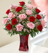 1800Flowers Shades of Pink and Red Rose Arrangement