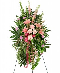 PEACEFUL PINK Sympathy Spray in Michigan City, IN | WRIGHT'S FLOWERS AND GIFTS INC.