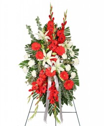 REVERENT RED Funeral Flowers in Council Bluffs, IA | ABUNDANCE A' BLOSSOMS FLORIST