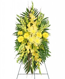 SOULFUL SUN Funeral Spray in Saint Albert, AB | PANDA FLOWERS (SAINT ALBERT) /FLOWER DESIGN BY TAM