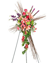 COMPASSIONATE CROSS Funeral Flowers in Jonesboro, AR | HEATHER'S WAY FLOWERS & PLANTS