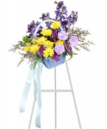 BLESSED BLUE SPRAY Funeral Arrangement in Fullerton, CA | UNIQUE FLOWERS & DECOR