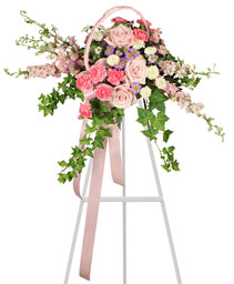 DELICATE PINK SPRAY Funeral Arrangement in Asheville, NC | THE ENCHANTED FLORIST ASHEVILLE
