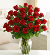 R 3-Two dozen long stem red roses Also available in other colors