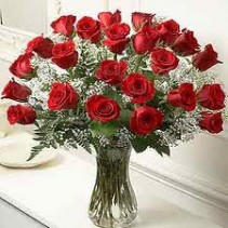 2 Dozen Red Roses with baby's breath in vase **ORDER NOW **
