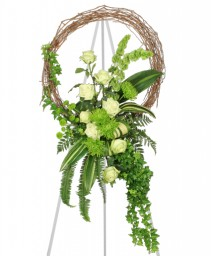 FRESH GREEN INSPIRATIONS Funeral Wreath in Saint Albert, AB | PANDA FLOWERS (SAINT ALBERT) /FLOWER DESIGN BY TAM