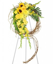 SUNSHINE OF LIFE Sympathy Wreath in Peru, NY | APPLE BLOSSOM FLORIST
