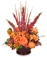 HOMECOMING HARVEST Arrangement in Pembroke, MA | CANDY JAR AND DESIGNS IN BLOOM