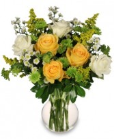 WHITE & YELLOW ROSES Arrangement in Hingham, MA | HINGHAM SQUARE FLOWERS