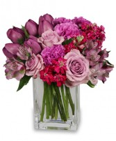 PRECIOUS PURPLES Arrangement Best Seller in Chicopee, MA | GOLDEN BLOSSOM FLOWERS & GIFTS
