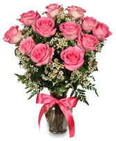 PRIMETIME PINK ROSES Arrangement in Bath, NY | VAN SCOTER FLORISTS 