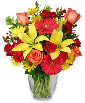 Bring On The Happy Vase of Flowers in Eagle Point, OR | HEAVEN SCENT FLOWERS & GIFTS