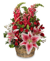 100% LOVABLE Basket of Flowers in New Albany, IN | BUD'S IN BLOOM FLORAL & GIFT