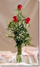 3 Rose Bud Vase Rose Arrangement
