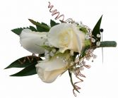 3 white Roses, wire Boutonniere