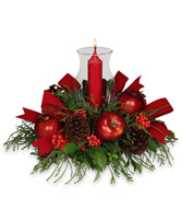 VELVETY RED CENTERPIECE Holiday Arrangement