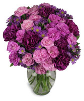 PURPLE PASSION Flower Arrangement in Huntington, IN | Town & Country Flowers Gifts