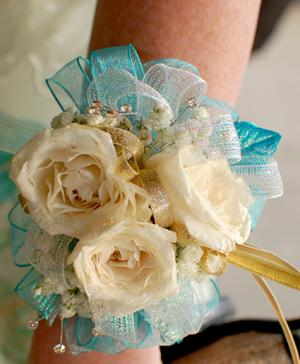 White Roses Prom Corsage Prom Flowers in Bryson City, NC | VILLAGE FLORIST & GIFTS