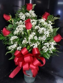 6 RED ROSES FLOWERS