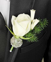 SPARKLY WHITE Prom Boutonniere in Devils Lake, ND | KRANTZ'S FLORAL & GARDEN CENTER