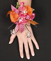 HOT PINK & ORANGE Prom Corsage in South Lyon, MI | PAT'S FIELD OF FLOWERS