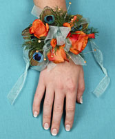 FLIRTATIOUS FEATHERS Prom Corsage in Davis, CA | STRELITZIA FLOWER CO.